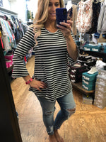 Fall Stripe Bell Sleeve Tunic