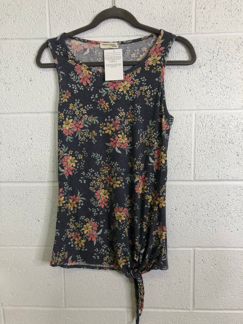 Floral Ribbed Front Tie Tank FINAL SALE