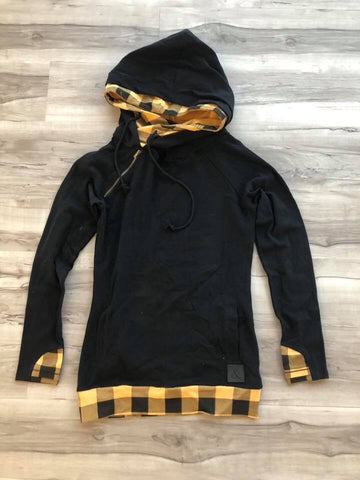 A&A  Black & Plaid Doublehoodie