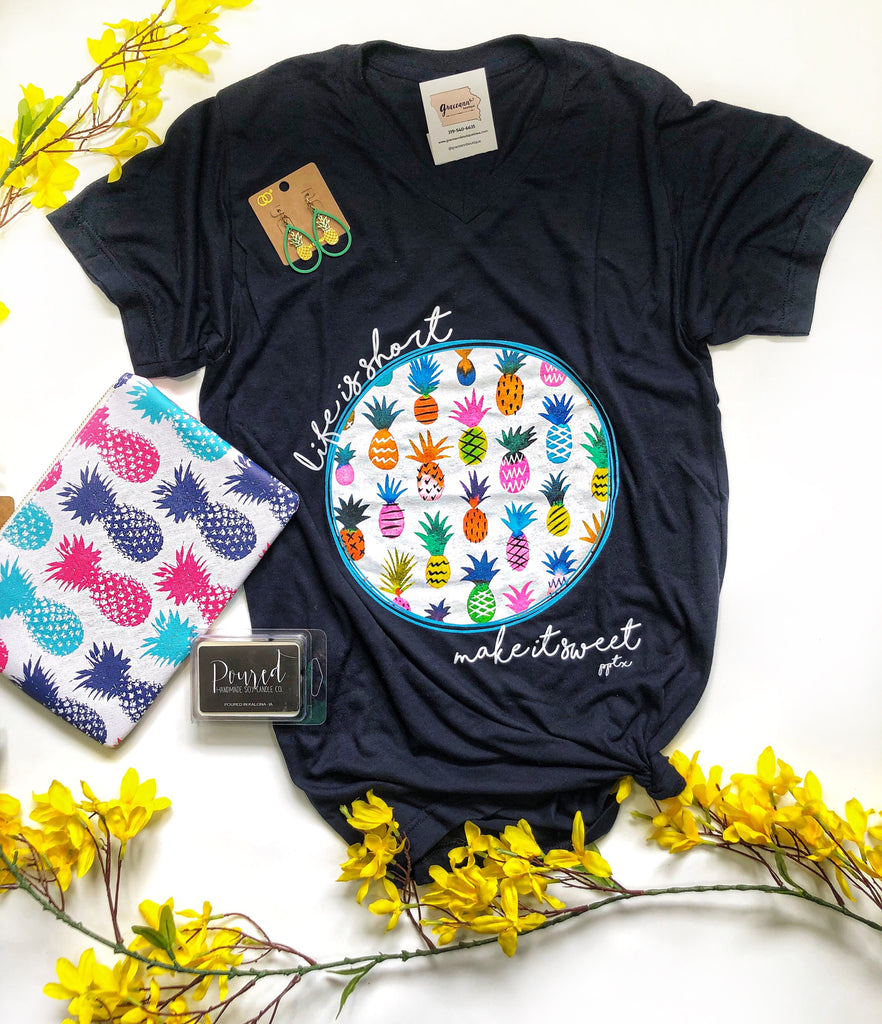 Navy Pineapple Be Sweet Tee