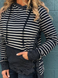FINAL SALE Lace-Up Side Stripe Hoodie