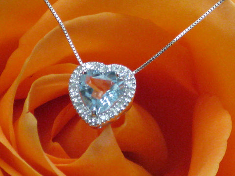 Aquamarine Diamond Heart Pendant  15-324