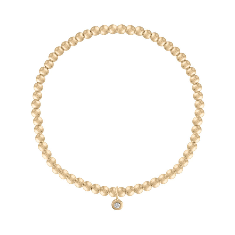 3MM Gold Ball Bracelet with Diamond