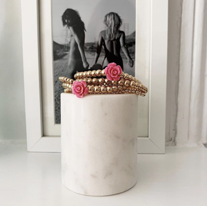 5MM Gold Ball Bracelet With Flower