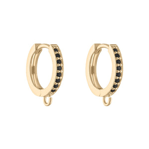 Black Onyx Huggie Hoop Earring with Charm Attachment