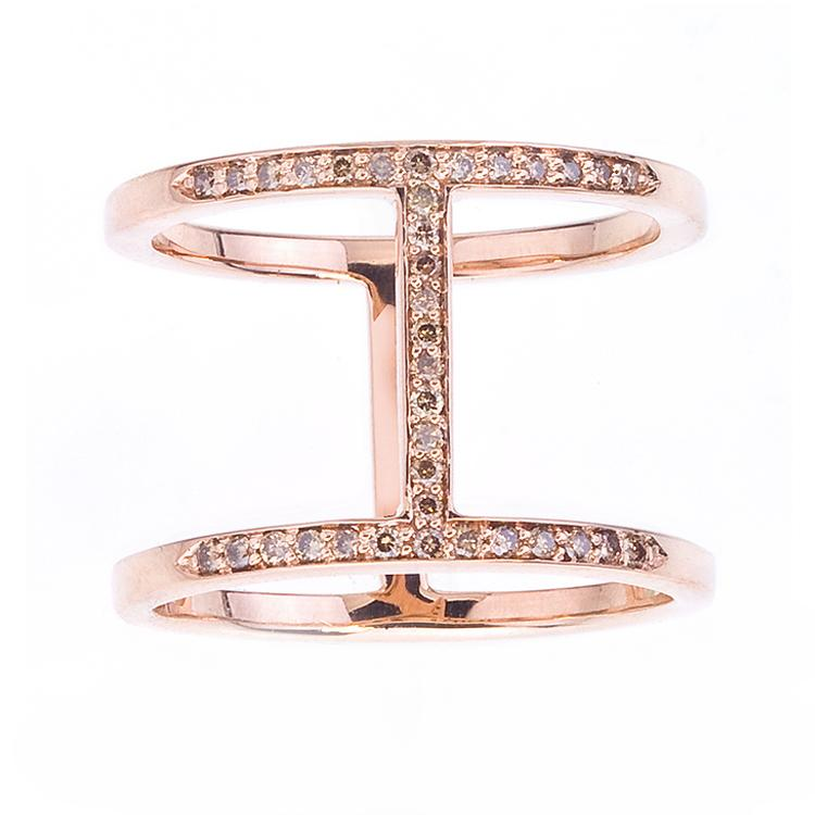 Gold and Champagne Pavé Diamond Elijo Ring