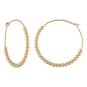 Large Yellow Gold Ball Hoop Earring