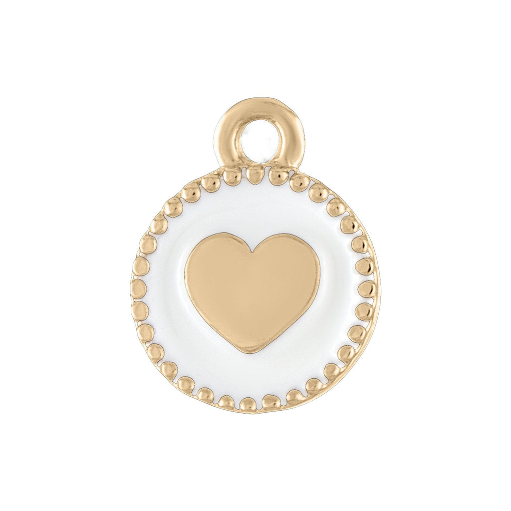 Small White Heart Disc