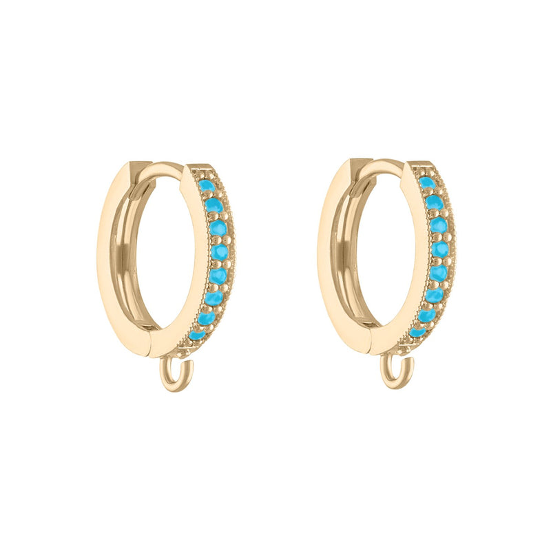 Turquoise Huggie Hoop Earring with Charm Attachment
