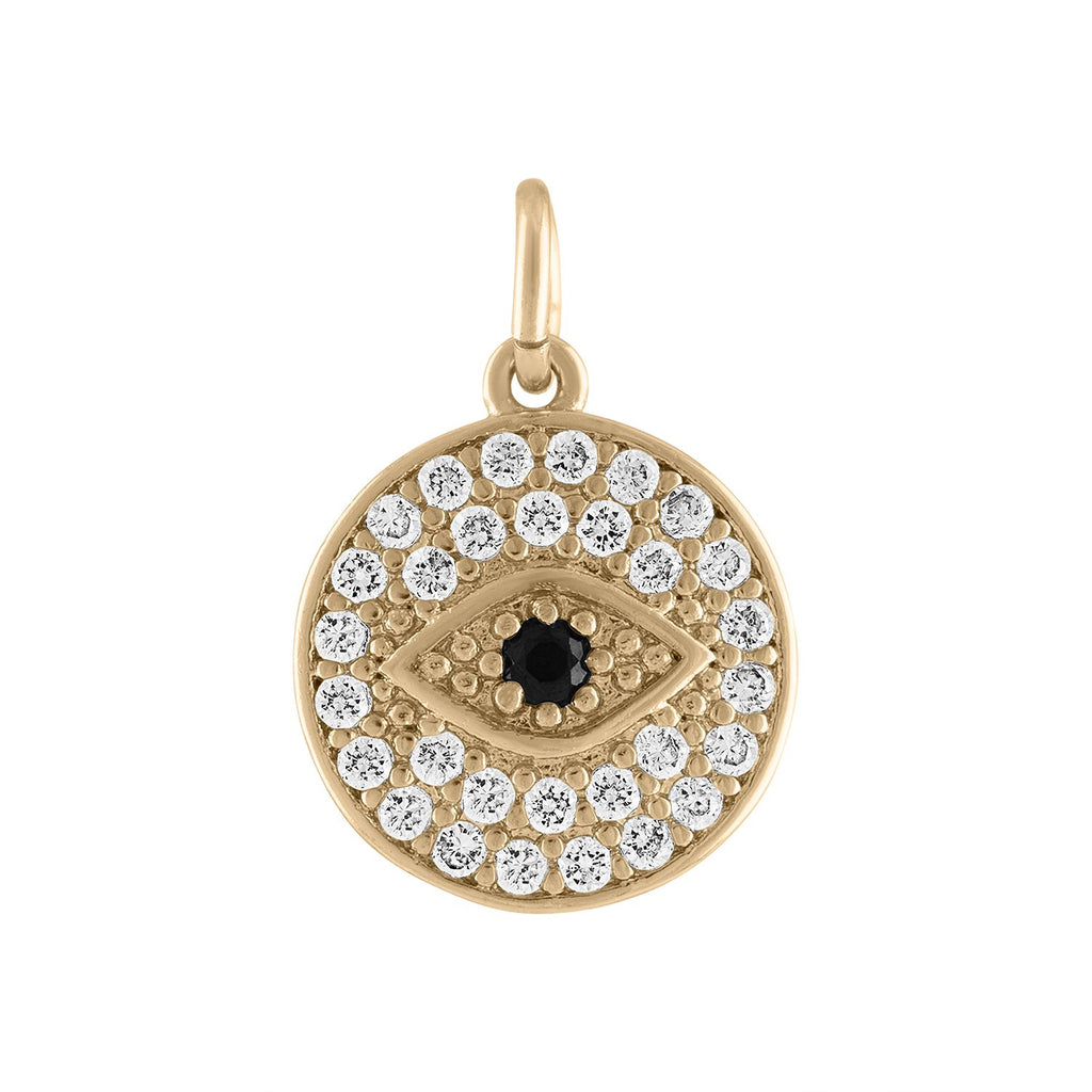 Yellow Gold Crystal Evil Eye