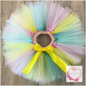 Pink, mint, yellow & baby blue short Tutu skirt