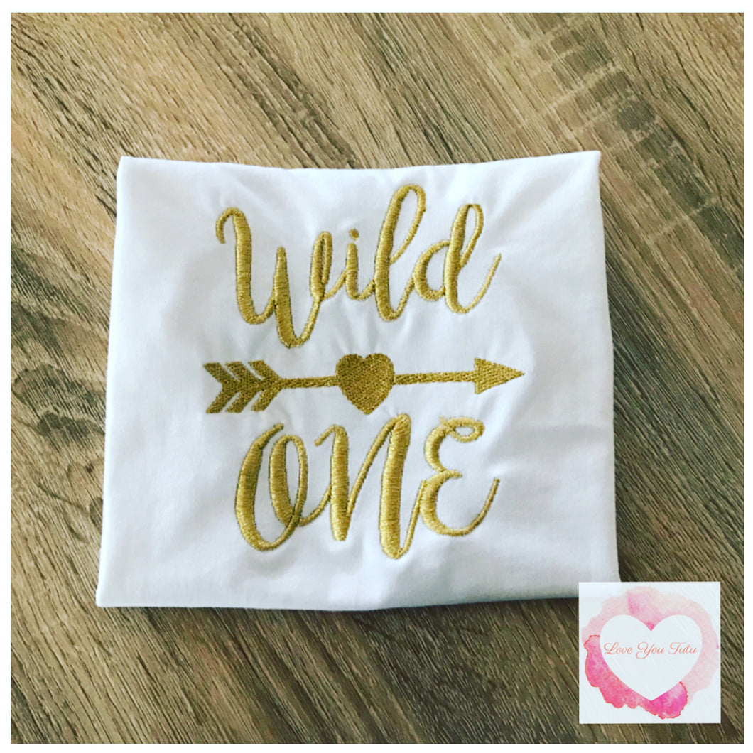 Embroidered wild one heart design