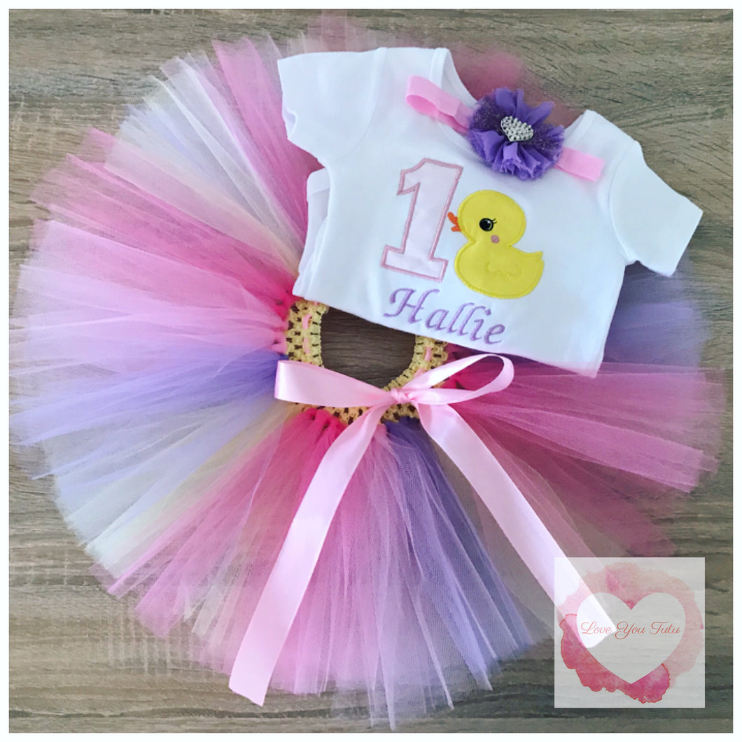 Embroidered ducky tutu set