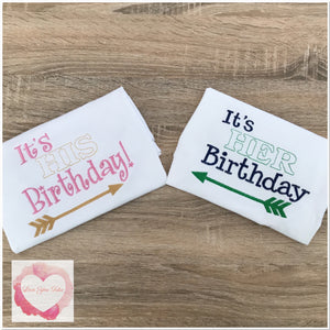 Embroidered twins birthday designs