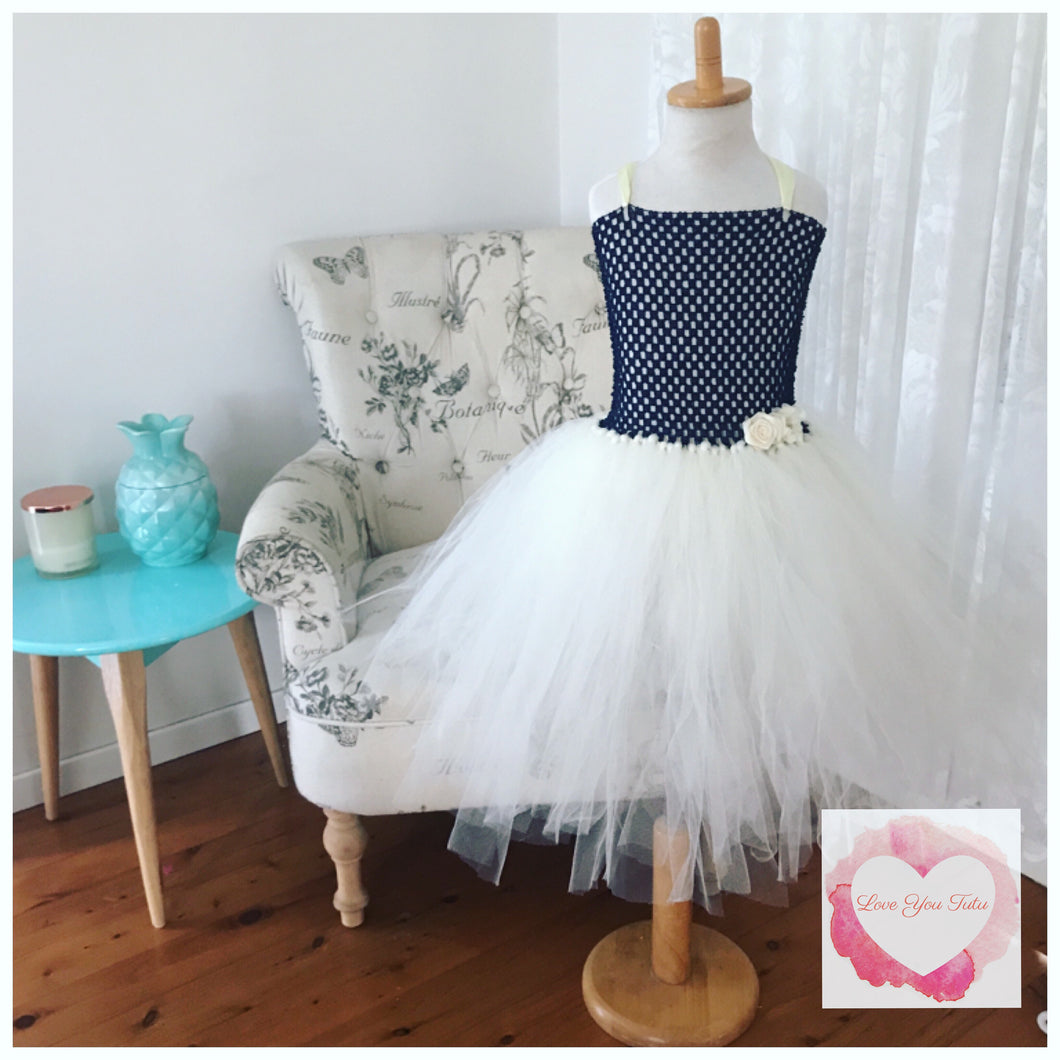 Navy blue & Ivory Tutu dress