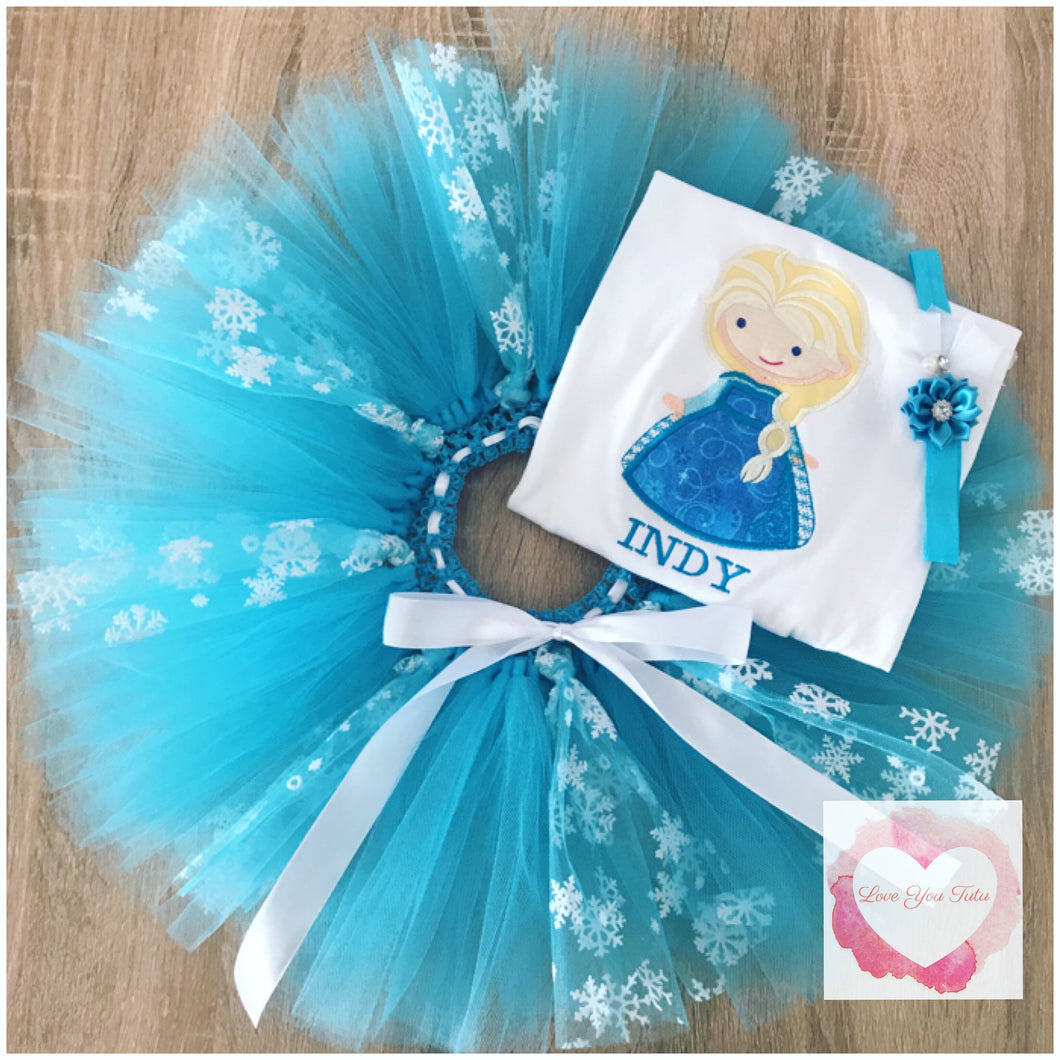 Embroidered Frozen inspired Elsa tutu set
