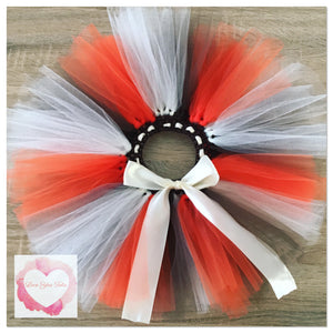 Orange, ivory & brown short Tutu skirt