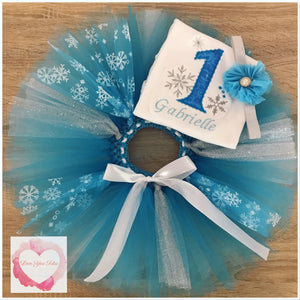Embroidered Frozen snowflake tutu set