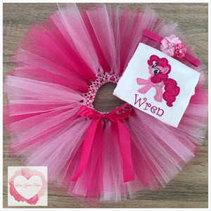 Embroidered My Little Pony Pinky pie tutu set