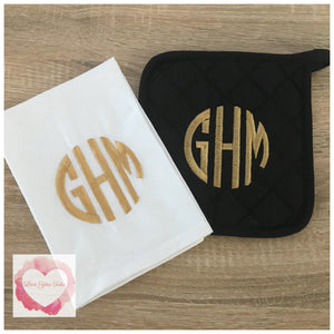 Embroidered Monogrammed kitchen set
