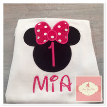 Load image into Gallery viewer, Embroidered Minnie Mouse head (pink) design