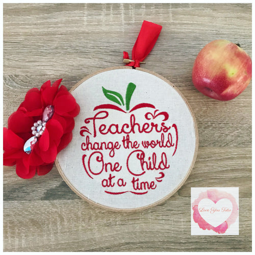 Teacher embroidered hanging hoop