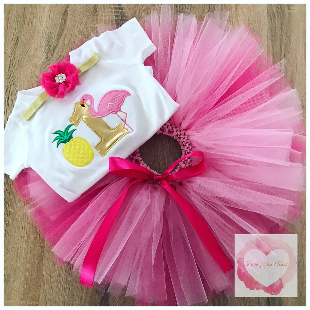 Embroidered flamingo & pineapple tutu set