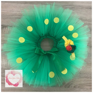 Green and yellow Dotty short Tutu skirt with matching headband