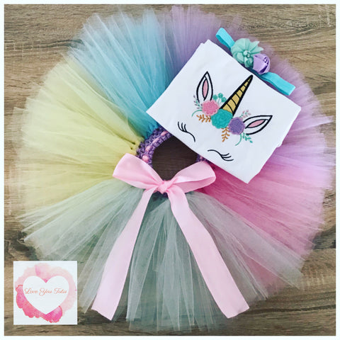 Embroidered Unicorn face tutu set