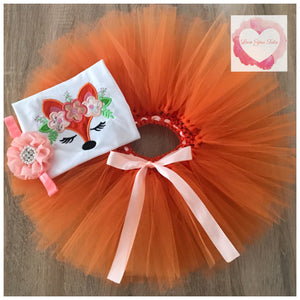 Embroidered Fox tutu set