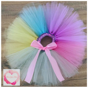 Pastel colour block short Tutu skirt