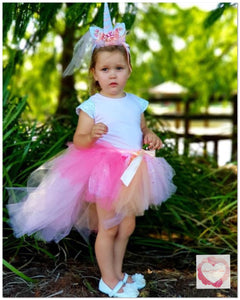 Pink unicorn high low Tutu skirt