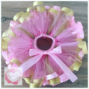 Pink & gold Ribbon trimmed short Tutu skirt