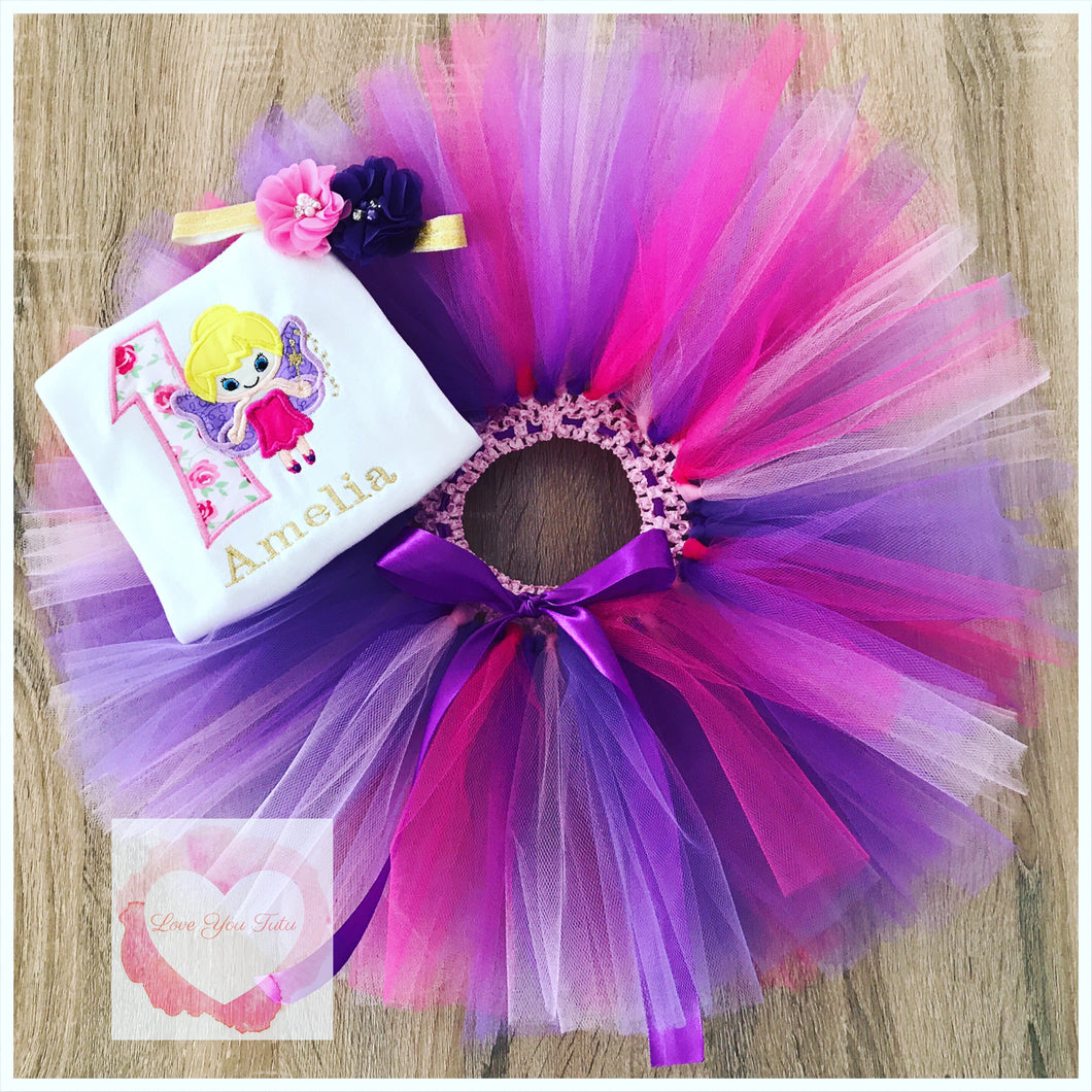 Embroidered fairy tutu set