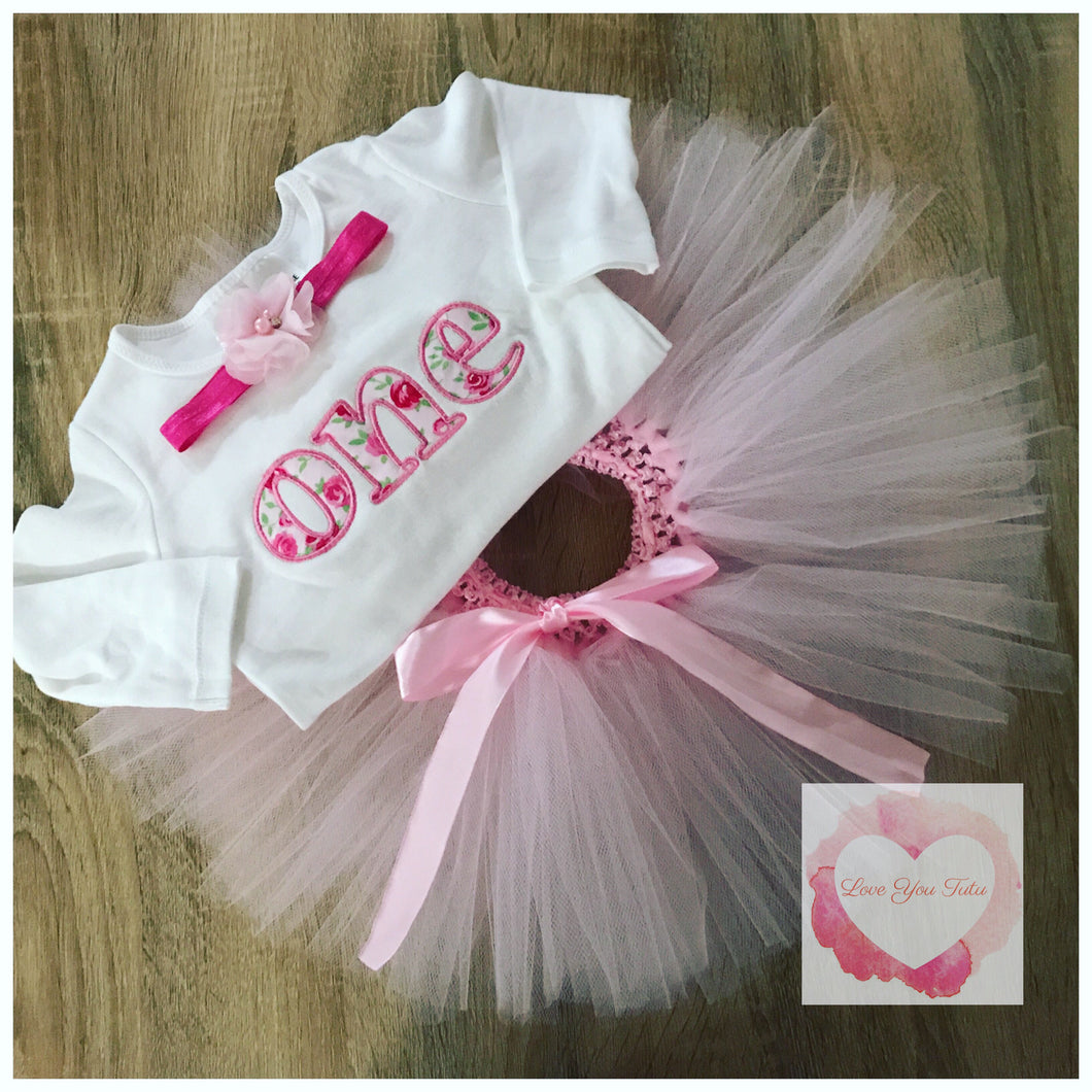 Embroidered floral numbered tutu set