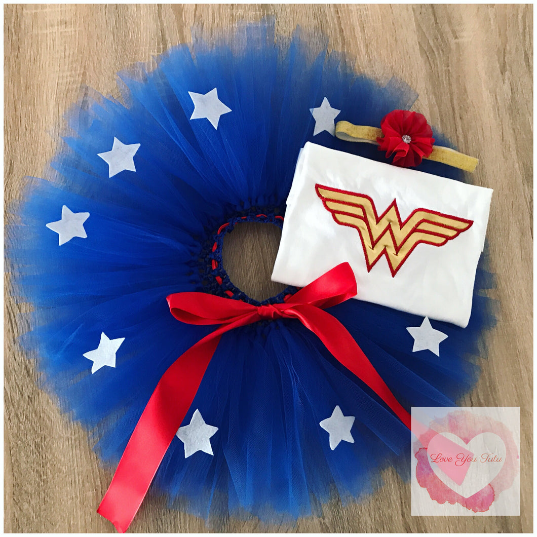 Embroidered Wonder Woman tutu set