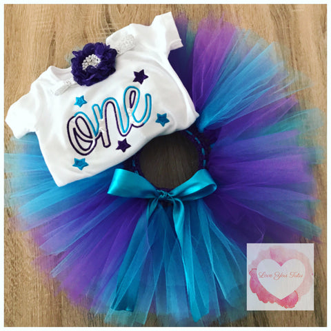 Embroidered star one tutu set