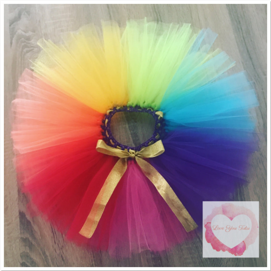 Rainbow colour block short Tutu skirt