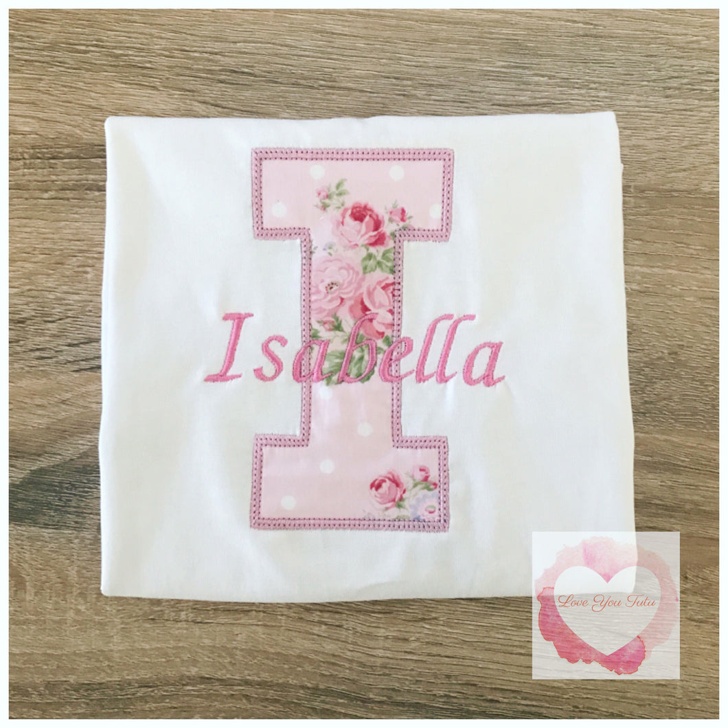 Embroidered Personalised letter design