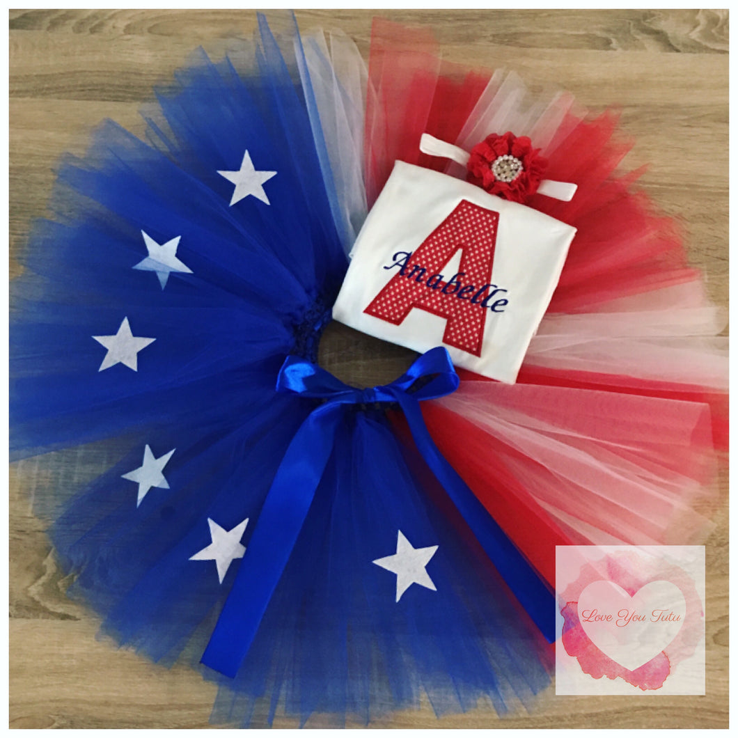 Embroidered USA tutu set
