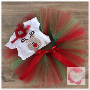 Embroidered Reindeer tutu set