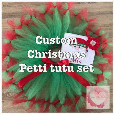 *Custom Embroidered Christmas Petti tutu set