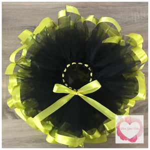 Black & yellow Ribbon trimmed short Tutu skirt