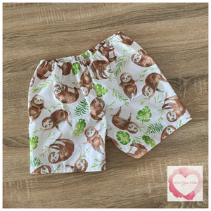 Sloth shorts size 5- ready to ship