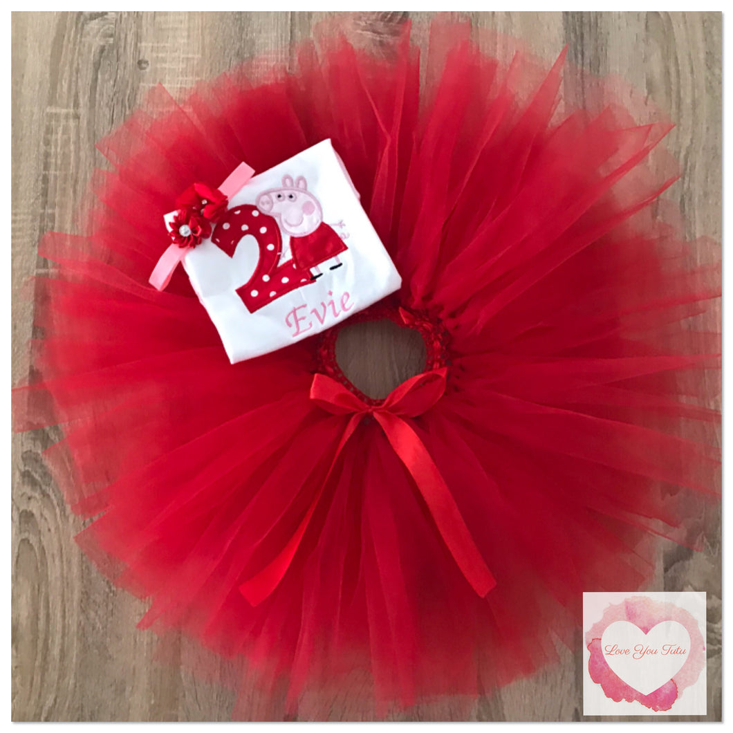 Embroidered Peppa pig tutu set