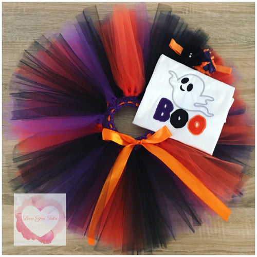 Embroidered Halloween boo tutu set