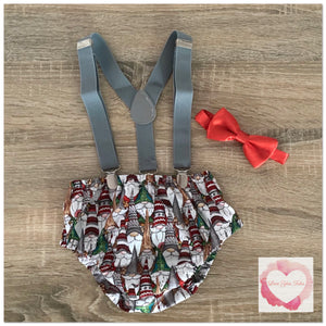 Gnome Christmas suspender set size 00 -ready to ship