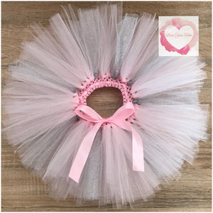 Baby Pink and silver short Tutu skirt