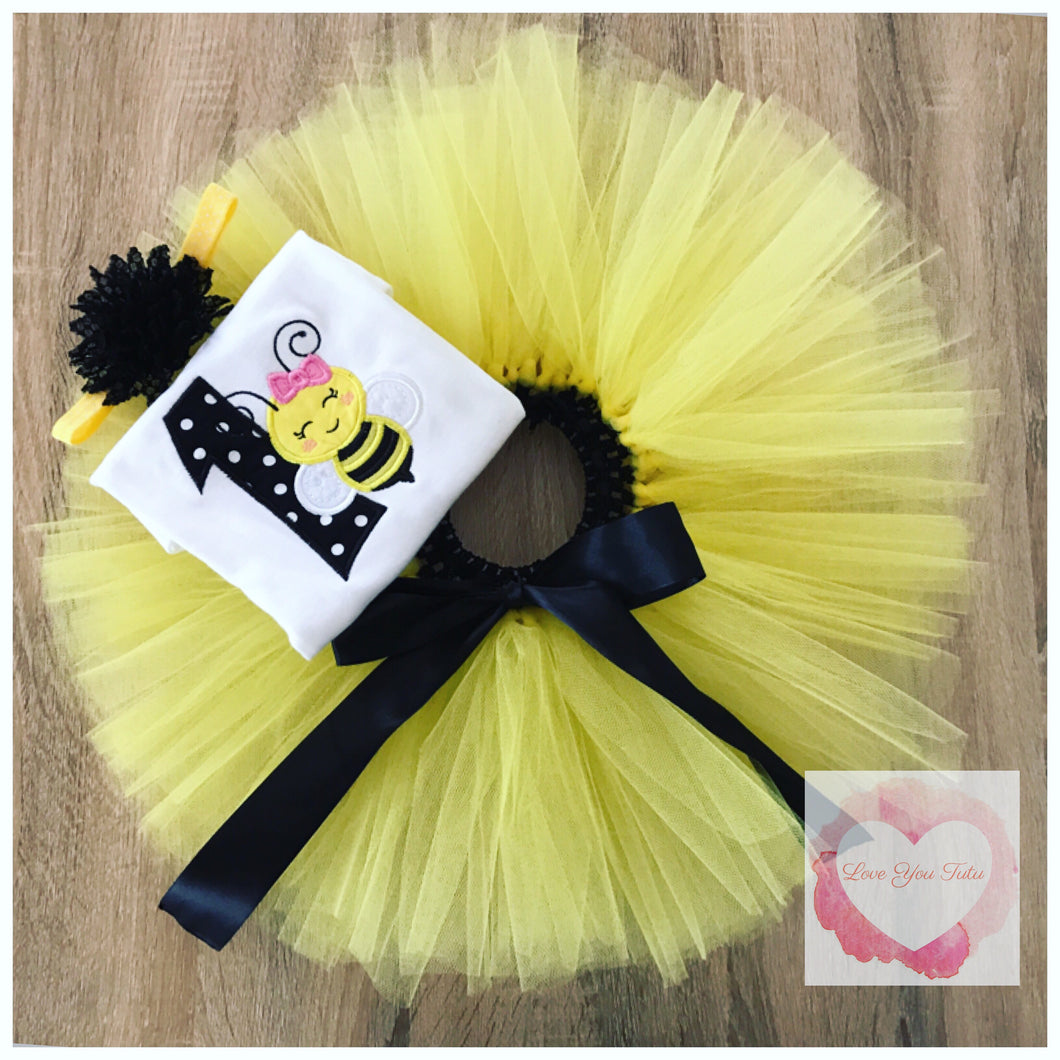 Embroidered Bumble bee tutu set