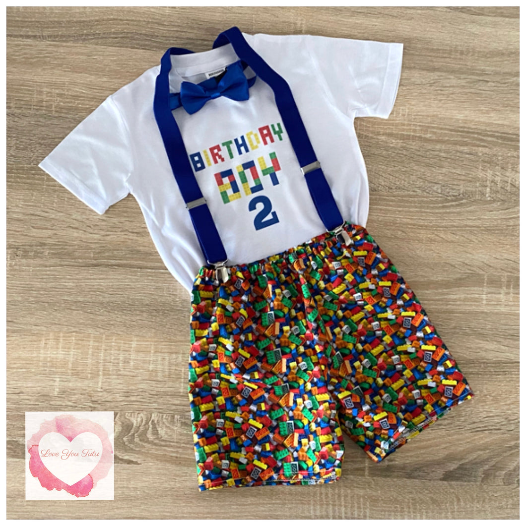 Lego 2nd birthday 3 piece shorts set size 2- ready to ship